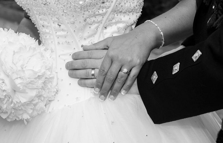 balack and white wedding photo, hands joined with wedding rings