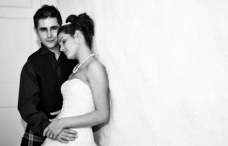 moody black and white wedding photo