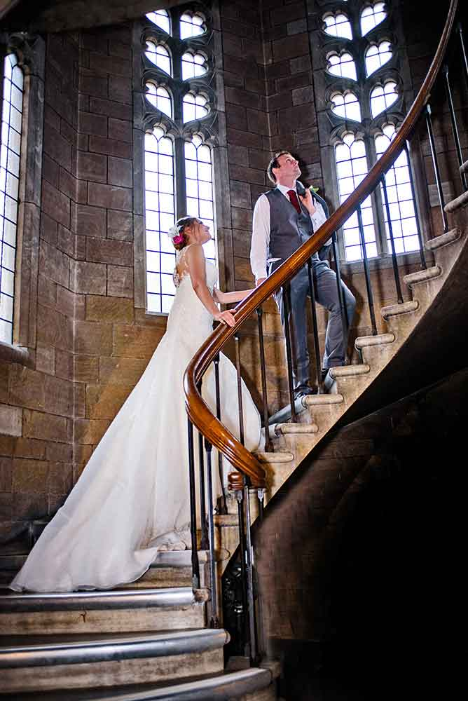 wedding photographer couple on stairway